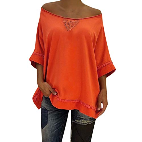 YOcheerful Women Tops Solid Sexy Lace Patchwork V-Neck Loose 1/2 Sleeve Tops Casual Blouse(Orange, - Pant Plaid Highland Ladies