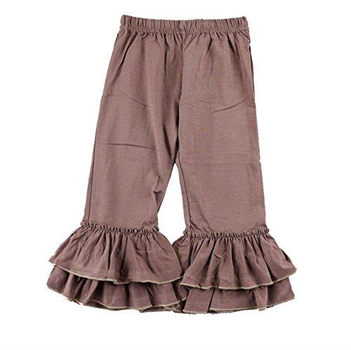 Wennikids Children's Little Girls Ruffle Soft Cotton Flare Pants Small Brown