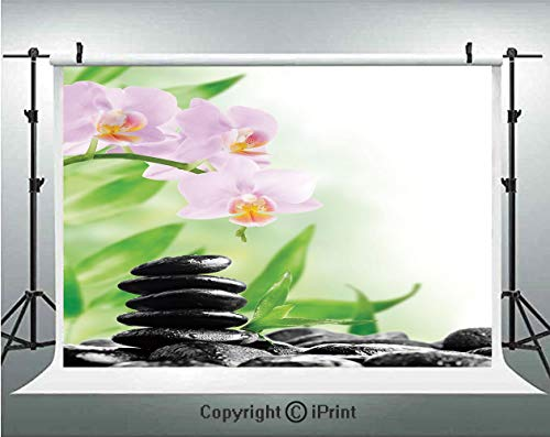 - Spa Photography Backdrops Zen Basalt Stones and Orchid with Dew Peaceful Nature Theraphy Massage Meditation Decorative,Birthday Party Background Customized Microfiber Photo Studio Props,5x3ft,Black Pi