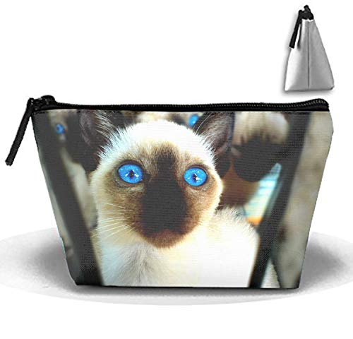 jiajufushi Animal Cats Indigo Trapezoidal Strorege Bag Waterproof Multi-Purpose Storage Tote Tools Canvas Bag Cosmetic Makeup Bags with Zipper and Hanging ()