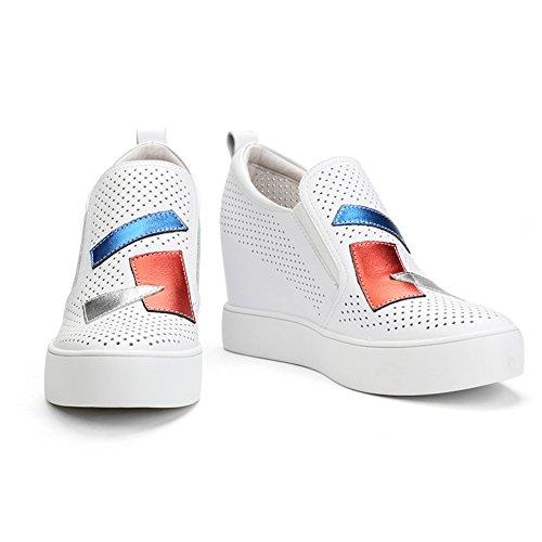 PUMPS Höhe Größer Werdende Kleine Weiße Schuhe,Weiße Steigung mit Leder Casual Atmungsaktiv Schuhe,Durchbrochene Schuhe-A Fußlänge=22.8CM(9Inch)