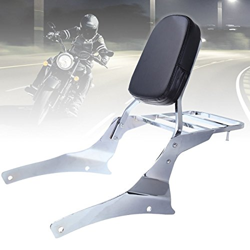 Iglobalbuy Chrome Backrest Sissy Bar Luggage Rack for Honda Shadow ACE VT750 1998-2003 VT 400 VT 750