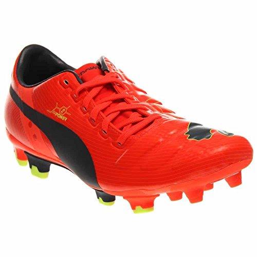 PUMA Men's evoPOWER 2 Firm Ground Soccer Shoe,Fluorescent Peach/Ombre Blue/Fluorescent Yellow,11.5 M US