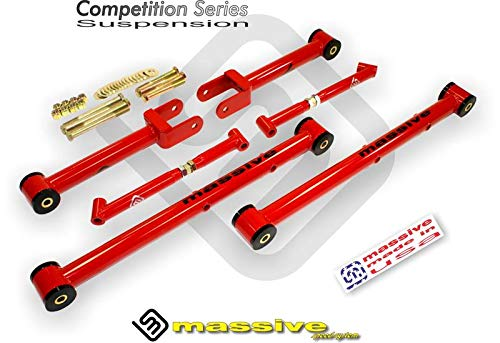 - Made in USA- MIRROR RED- COMPETITION SERIES- Competition Upper, Lower Control Arm kit w/Brace 64-67 GM A- Body GS 350 455 Skylark Chevelle El Camino Caballero Monte Carlo Cutlass 442 Le Mans GTO