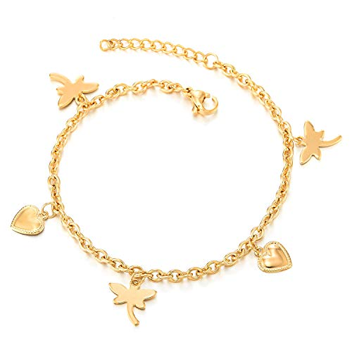 COOLSTEELANDBEYOND Steel Gold Color Link Chain Anklet Bracelet with Dangling Dragonflies and Hearts Charms, Adjustable (Dangling Dragonfly Bracelet)