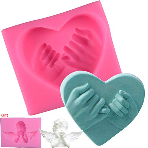 Love Hand In Hand Fondant Silicone Mold Birthday Cake Decoration Mold Chocolate Biscuit Mold, Give Angel Mold