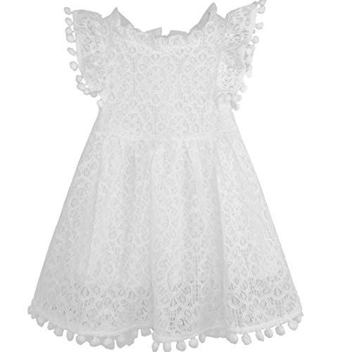 White Flutter Sleeve Dress - Niyage Toddler Girls Elegant Lace Pom Pom Flutter Sleeve Party Princess Dress White 110