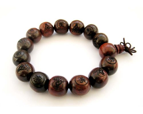 Carved Wood Bracelet - 15mm Wood Beads Buddhist Carved Fo Buddha Kwan-yin Lotus Prayer Wrist Mala Bracelet