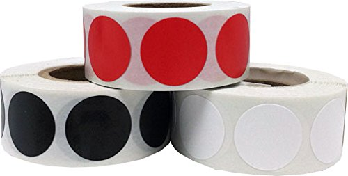 Color Coding Craft Decoration Dot Stickers - Red Black and White - 1,500 Total 0.75'' Inch Round Adhesive Labels by InStockLabels.com