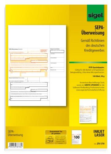 Sigel ZV570 SEPA-Überweisung, A4, 100 Blatt, incl. free download Beschriftungsassistent