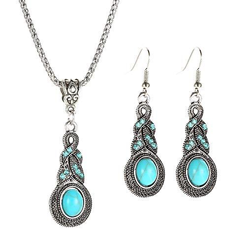 ILJILU 1 X Fashion Women's Retro Turquoise Rhinestone Earrings Necklace Jewelry Set]()