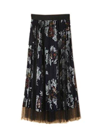Aoliait Femme Jupe Mi Longue Amincissante Jupe Plisse Taille Haute Femelle Skirt Floral Tendance Tulle Jupe Taille Extensible Jupe Blue