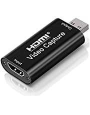 Tarjeta de captura de video en vivo USB2.0 HD 1080P Grabación de video compatible con múltiples sistemas, Dispositivo de captura HDMI compacto para DSLR, Action Cam, Game Live