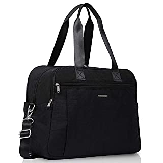 """Lily & Drew Lightweight Travel Tote Crossbody Weekender Carry On 15.6"""" Laptop Bag for Women (Black)"""