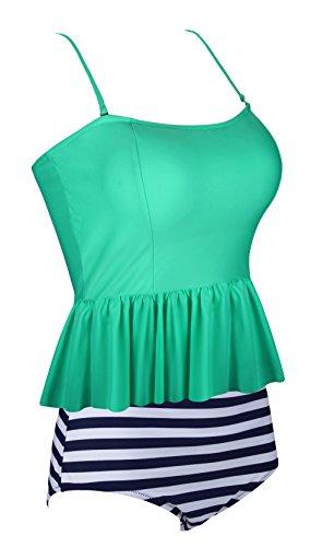 Aixy Mujer Vintage Tankini Ruffles Strap Traje de Baño Flounce Cuello Halter Bikinis Verde claro-1