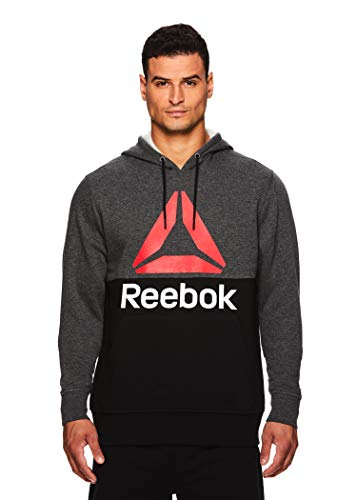 - Reebok Men's Performance Pullover Hoodie - Graphic Hooded Activewear Sweatshirt - Char/Black Boost, Medium