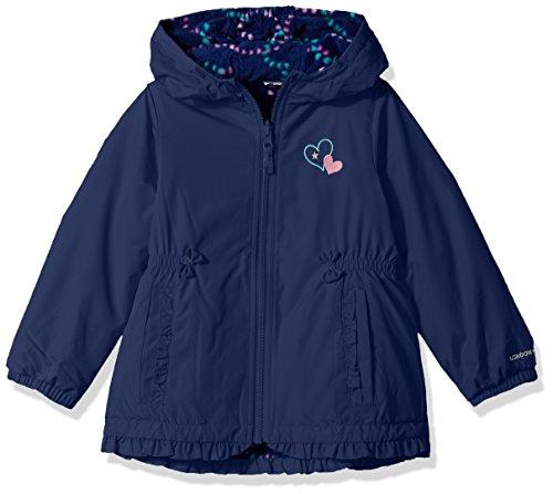 London Fog Baby Toddler Girls' Girly Midweight Reversible Jacket Coat, Navy, 4T