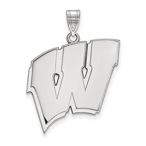 10k White Gold LogoArt Official Licensed Collegiate University of Wisconsin (UW) XL Pendant by Logo Art
