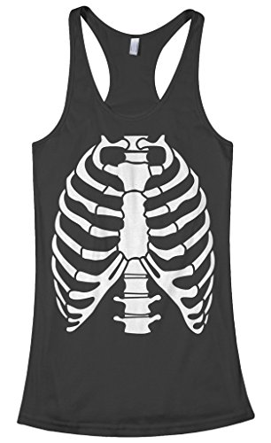 Threadrock Women's Skeleton Rib Cage Halloween Costume Racerback Tank Top M -