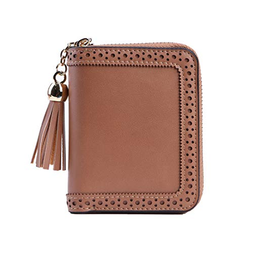 RFID Blocking Card Cases Women's Credit Card Holder Small Zipper Wallet With 22 Card Slots (brown)