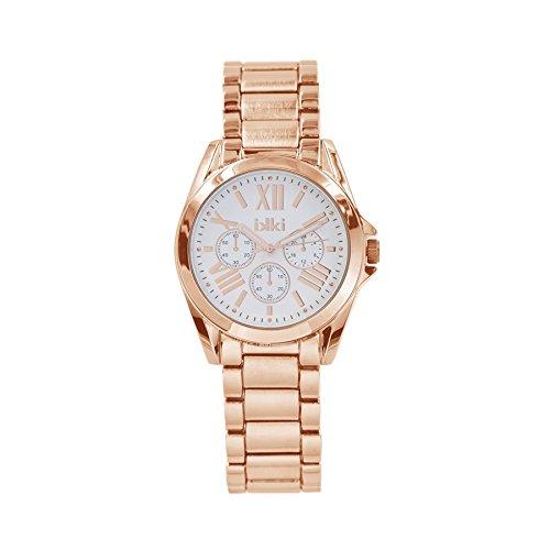ikki Reloj analógico para mujer Quartz Acero Inoxidable ROS & eaigu; Oro LC de 02