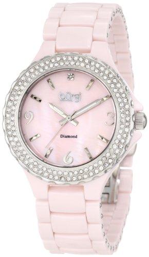 Burgi Women's BU47PK Diamond Ceramic Mother-Of-Pearl Watch