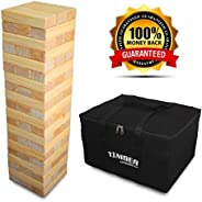 Giant Timber - Jumbo Size Wood Game - Ideal for Outdoors - Perfect for Adults, Kids 60 XL Pcs 7.5 x 2.5 x 1.5