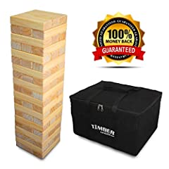 """Get ready to take your party to the next level with the best look in tumbling tower games!!!TIMBER has 20 rows of 60 - 7.5"""" x 2.5"""" x 1.5"""" silky smooth sanded wood included in a high quality, and durable, carry bag.Impress your favorite crowd ..."""