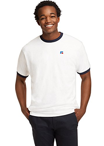 Embroidered Athletic T-shirt (Russell Athletic Heritage Men's Baseliner Embroidered Eagle R Ringer T-Shirt, White, XXL)