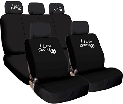 NEW Design I love Sports Logo Front and Rear Car Seat Covers Support 50/50, 60/40 Rear Split Seat Black Color (Soccer)