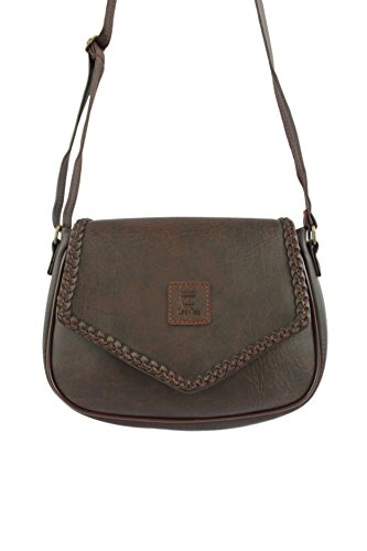 Vintage Leather Mini Cross Body Shoulder Women Bag Handmade Purse with Braid v2 (Dark Brown)