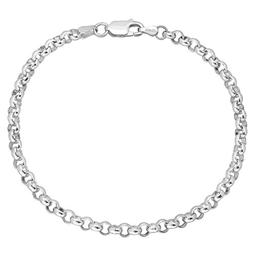 4mm Real 925 Sterling Silver Nickel-Free Rolo Chain Bracelet, 7 inches - Made in Italy