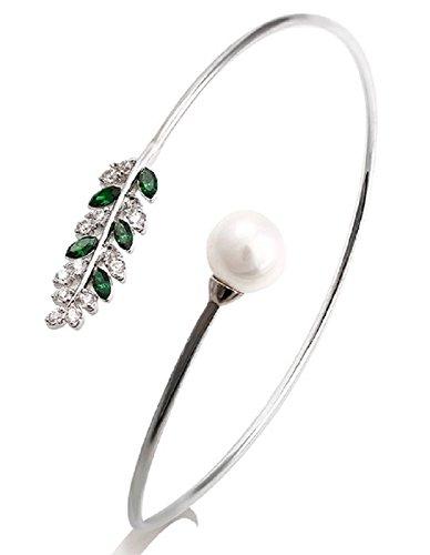 Faux Pearl and Swarovski Crystal Leaf Rhodium Plated Fashion Bangle Bracelet (Dark Green) ()