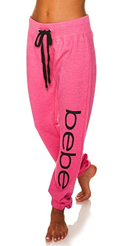 (bebe Womens Elastic Waist Ankle Drawstring Lounge Pajama Sleep Pants Fuchsia Heather Small)