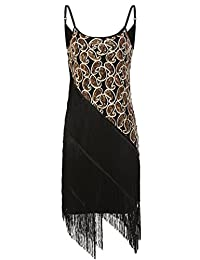 ANGVNS Latin Dress Sequin Paisley Pattern Tiered Tassel Gatsby Beads Sling Dress