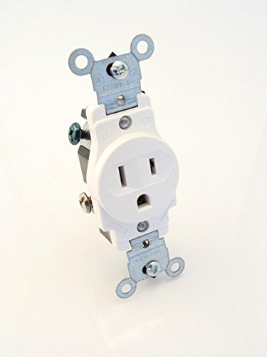 Single Outlet Plug - Leviton 5015-W 15 Amp, 125 Volt, Narrow Body Single Receptacle, Straight Blade, Commercial Grade, Grounding, White