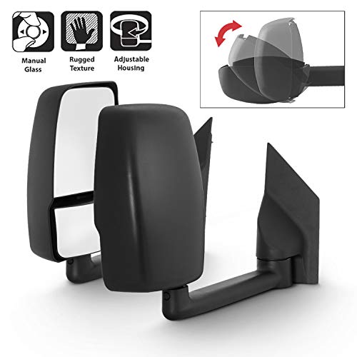 For 2003-17 Chevy Express 1500/2500/3500 + GMC Savana 1500/2500/3500 Full-Size Van Manual Towing Towing Mirrors Pair Set