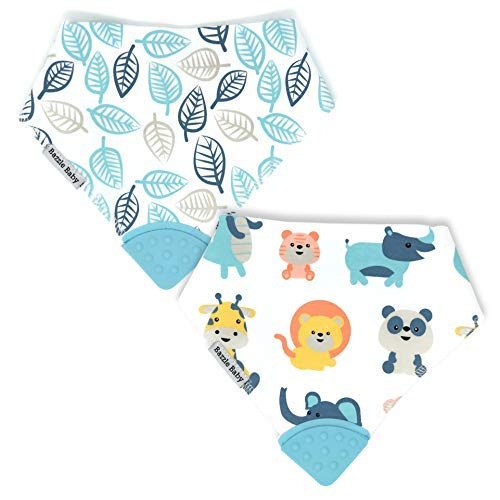 - Bazzle Baby Banda Teething Bib - Machine Washable Bandana Bib for Babies - Sore Gum Relief and Drool Bib (Trip to The Zoo)