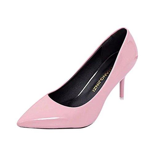 JIANGFU Damen Hochhackigen Casual PU-Leder Einfarbig [High Heels], Frauen Nackt Flach Mund Mode Elegante Damen Büro Arbeit High Heels Schuhe Rosa