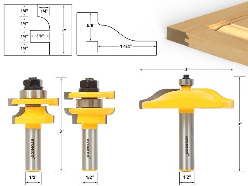 Raised Panel Router Bit Door Set -Round Over with Ogee Pa...
