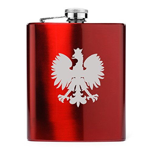 7 oz Stainless Steel Hip Flask Poland Polish Eagle for sale  Delivered anywhere in USA