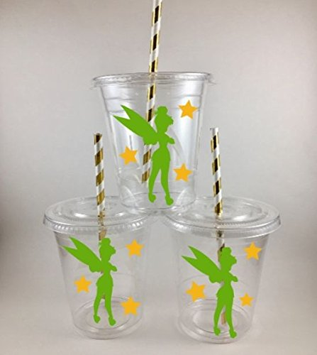 Tinkerbell Inspired PARTY CUPS Set of 24 WITH Lids and Straws BIRTHDAY ()