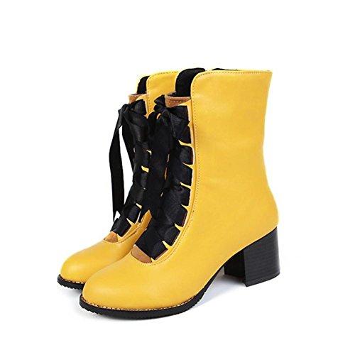 Heel Nvxie Scarpe Balestruccio Testa 6 Inverno Ruvido Stivali 39 Eur Pelle Autunno uk 5 Donna 6 Nero Rotonda eur43uk9 Yellow Dimensione Caviglia 4wqtrxz4