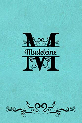 Split Letter Personalized Name Journal - Madeleine: Elegant Flourish Capital Letter on Light Teal Leather Look Background Journal For Women