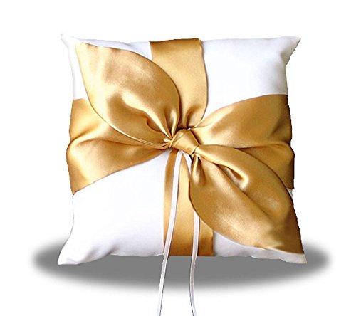 SACASUSA(TM) GOLD Satin Bow Ivory Wedding Ring pillow - Gold Ring Pillow