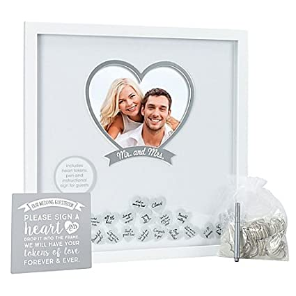 Wedding Wishes Box Included Wooden Hearts In White