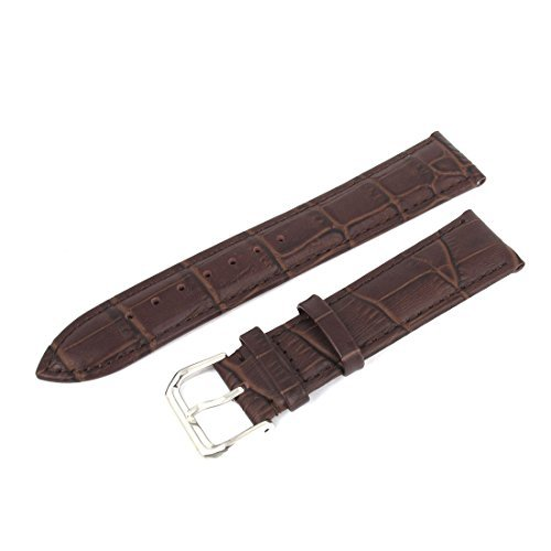 DealMux Faux Leather Unisex Strap Steel Buckle Wrist Watch Band 20mm Width Brown