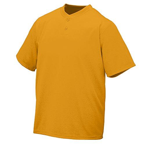 Augusta Sportswear WICKING TWO-BUTTON JERSEY M Gold Augusta Baseball T-shirt