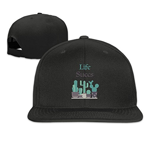 Black Vinyl Newsboy Hat (PYBQMAJ Life Succs Flat Bill Snapback Hats Baseball Caps For Men Women)