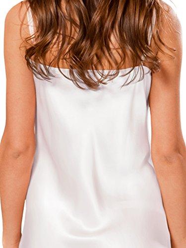 Lunga Premium Seta 100 Seta In Da Camicia Seta Qualità Di Da Notte ElleSilk Notte Camicia Donna Bianco In Da qT1npx